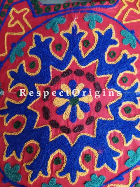 Richly Embroidered Red Satin Lined Crewel Hand Bag; RespectOrigins.com
