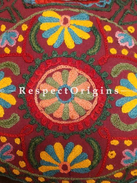 Richly Embroidered Satin Lined Crewel Hand Bag; RespectOrigins.com