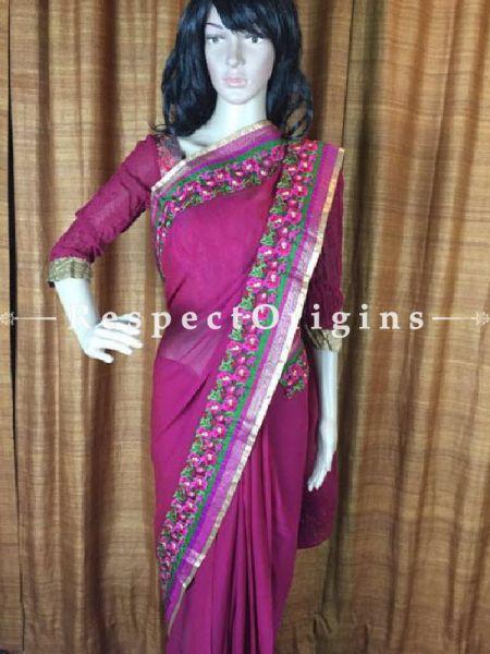 Buy Crimson Pink Chiffon Saree At RespectOriigns.com