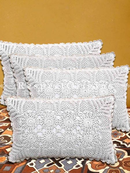 Buy Hand Knitted White Crochet Rectangular Pillow Cases Set of 4; Cotton 20x12 in At RespectOrigins.com