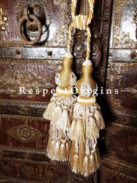 Buy Pair Of Silken Curtain Tie-Back In Beige Color ; 25 X 3 Inches   at RespectOrigins.com