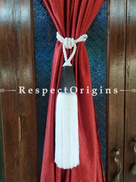 White Silken Curtain Tie-back Pair; 25 x 2 Inches-Mu-50171-70376