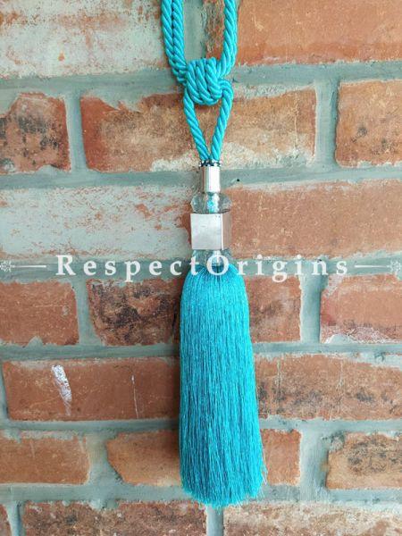 Blue Silken Curtain Tie-back Pair; 25 x 2 Inches-Mu-50171-70378