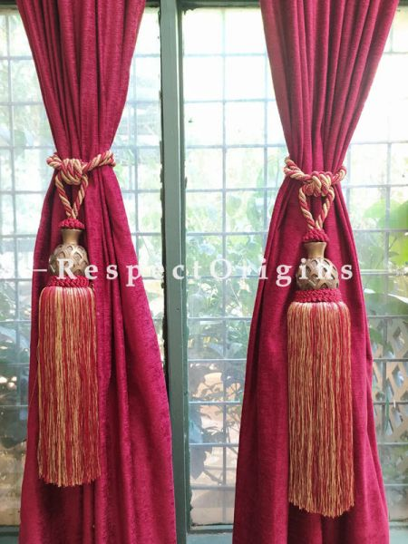 Buy Pair Of Silken Curtain Tie-Back In Red; 25 X 3 Inches  at RespectOrigins.com