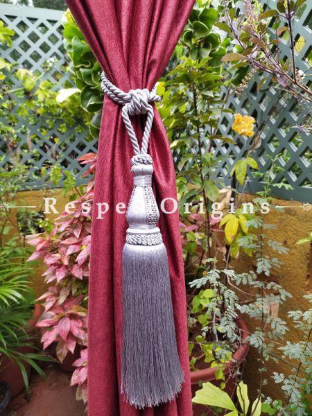 White Silken Curtain Tie-back Pair; 25 x 2 Inches-Mu-50171-70379