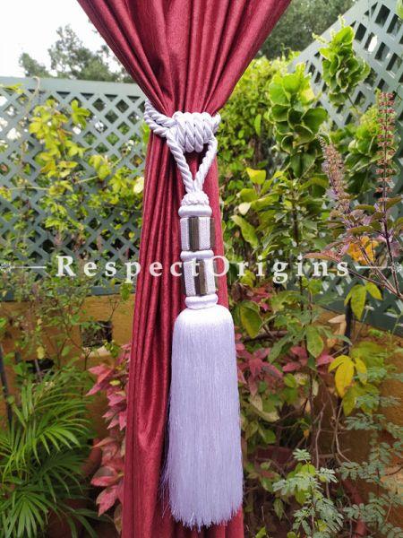 White Silken Curtain Tie-back Pair; 25 x 2 Inches-Mu-50171-70380
