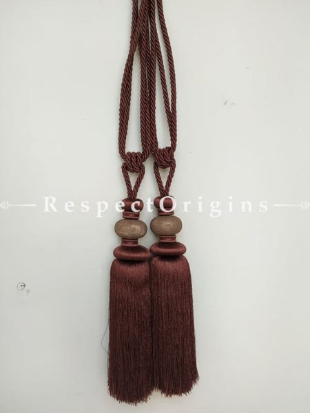 Buy Dark Brown Silken Curtain Tie-Back Pair; 29 X 5 Inches  at RespectOrigins.com