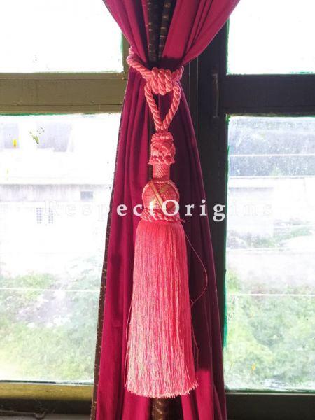 Pink Silken Curtain Tie-back Pair; 25 x 2 Inches-Mu-50171-70381