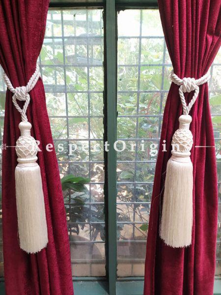 Buy White Silken Curtain Tie-Back Pair; 30 X 3 Inches  at RespectOrigins.com