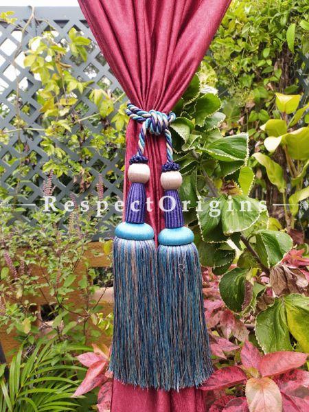 Blue Silken Curtain Tie-back Pair; 25 x 2 Inches-Mu-50171-70382