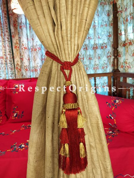 Buy Pair Of Red Silken Curtain Tie-Back ; 25 X 3 Inches  at RespectOrigins.com