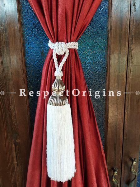 White Silken Curtain Tie-back Pair; 25 x 2 Inches-Mu-50171-70383