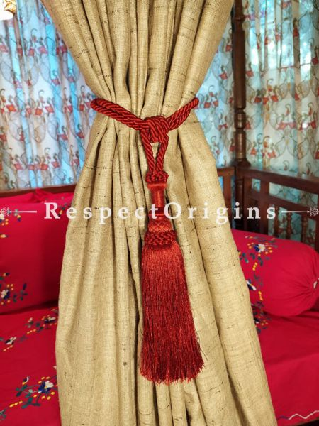 Buy Red Silken Curtain Tie-Back Pair; 25 X 2 Inches  at RespectOrigins.com
