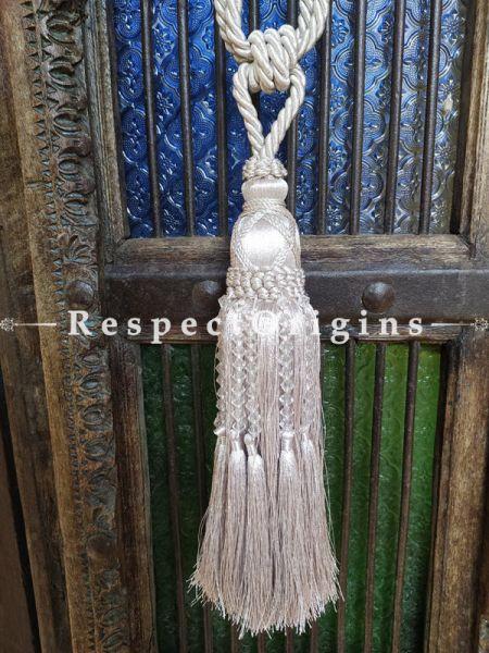 White Silken Curtain Tie-back Pair; 25 x 2 Inches-Mu-50171-70385
