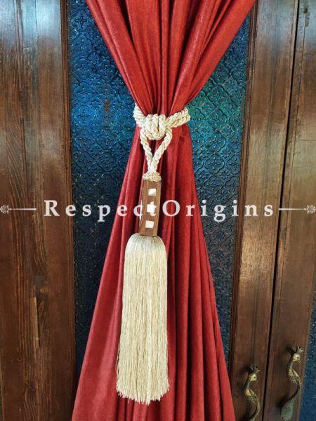 White Silken Curtain Tie-back Pair; 25 x 2 Inches-Mu-50171-70370