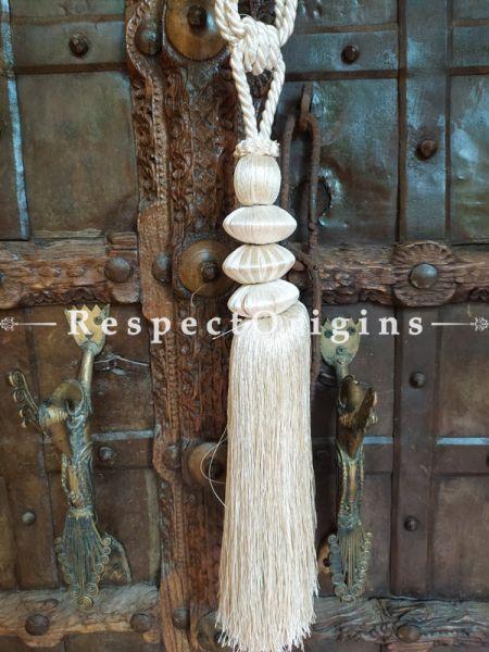 White Silken Curtain Tie-back Pair; 25 x 2 Inches-Mu-50171-70386