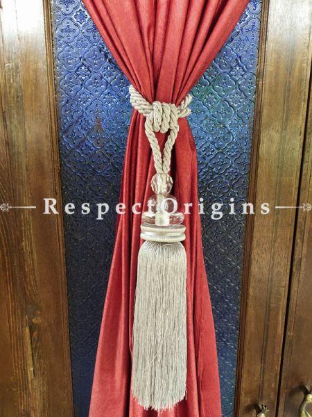 White Silken Curtain Tie-back Pair; 25 x 2 Inches-Mu-50171-70387