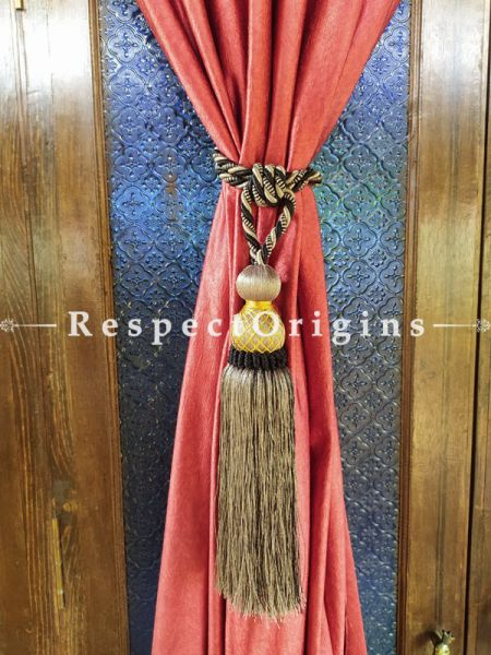 Grey Silken Curtain Tie-back Pair; 25 x 2 Inches-Mu-50171-70389