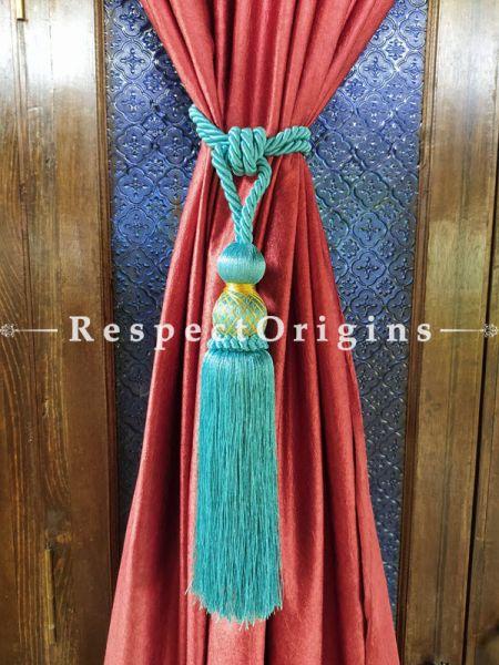 Blue Silken Curtain Tie-back Pair; 25 x 2 Inches-Mu-50171-70391