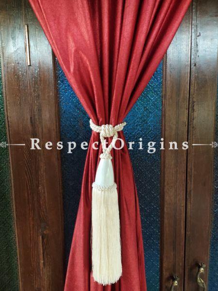 White Silken Curtain Tie-back Pair; 25 x 2 Inches-Mu-50171-70393