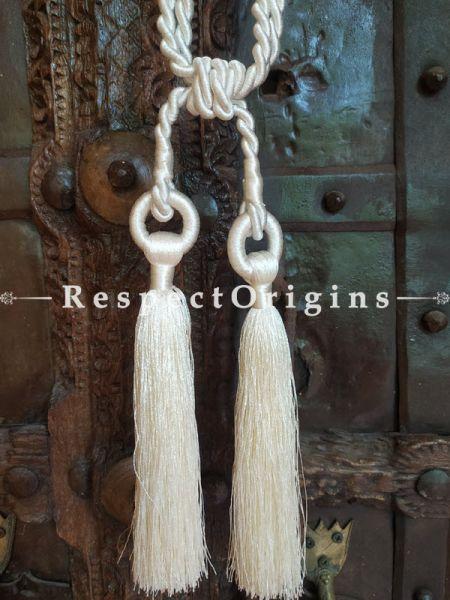White Silken Curtain Tie-back Pair; 25 x 2 Inches-Mu-50171-70405