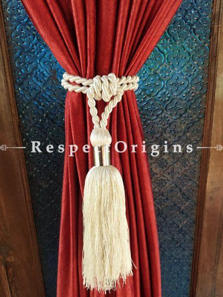 White Silken Curtain Tie-back Pair; 25 x 2 Inches-Mu-50171-70406
