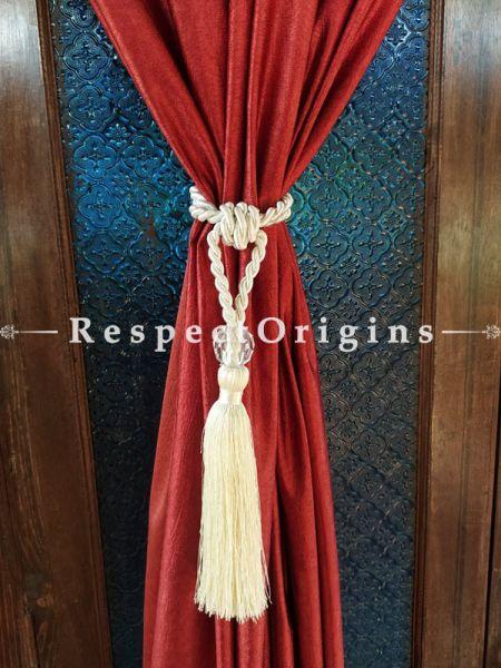 White Silken Curtain Tie-back Pair; 25 x 2 Inches-Mu-50171-70407