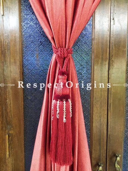 Red Silken Curtain Tie-back Pair; 25 x 2 Inches-Mu-50171-70375