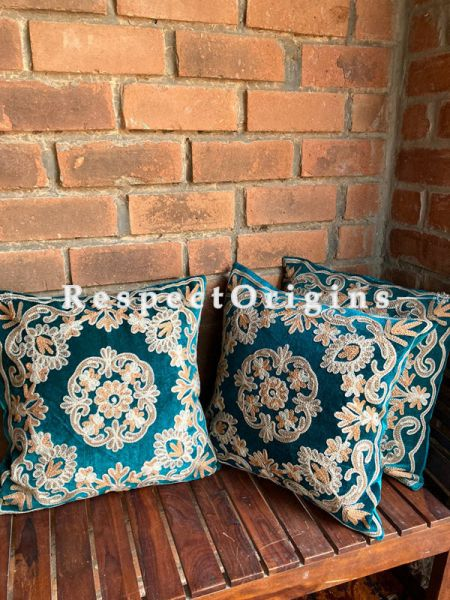 Luxurious Kashmiri Patchwork Embroidery in Contrasting Brushed Emerald Green Velvet Throw Accent Cushion Set of 3; RespectOrigins.com