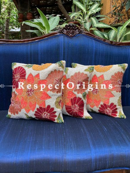 Hand knitted &  Embellished Red, Orange & Mustard coloured Beadwork on Cream Coloured Satin Silk Cushion Covers: Set of 3; RespectOrigins.com