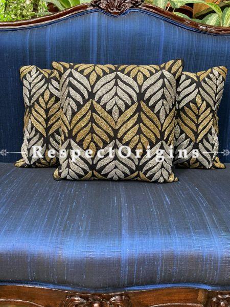 Hand Knitted & Embellished Silver & Golden Leaf Beadwork on Black Coloured Satin Silk Cushion Covers: Set of 3; RespectOrigins.com