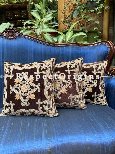 Luxurious Kashmiri Patchwork Embroidery in Contrasting Brushed Emerald Brown Velvet Throw Accent Cushion Set of 3; RespectOrigins.com
