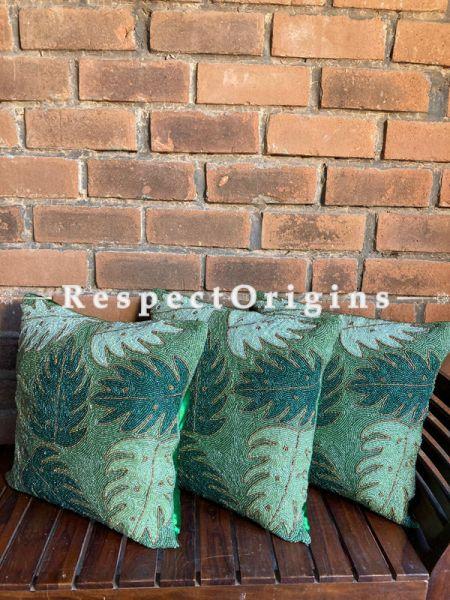 Hand Knitted & Embellished Green Leaf Beadwork on Bottle Green Coloured Satin Silk Cushion Covers: Set of 3; RespectOrigins.com
