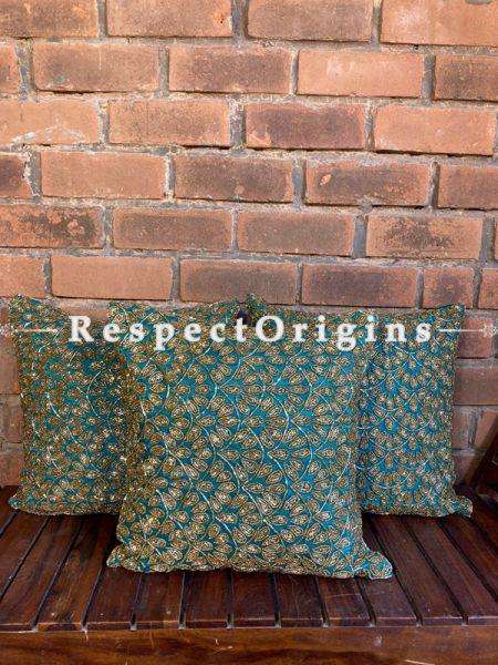Hand Knitted & Embellished Golden Beadwork on Bottle Blue Coloured Satin Silk Cushion Covers: Set of 3; RespectOrigins.com