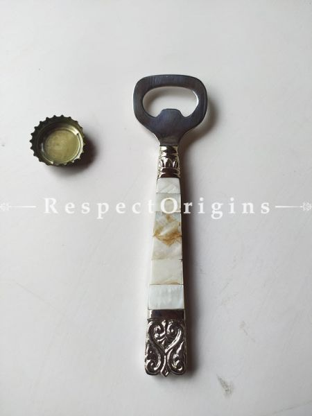 Steel Bottle Opener With Mother of Pearl Handle;