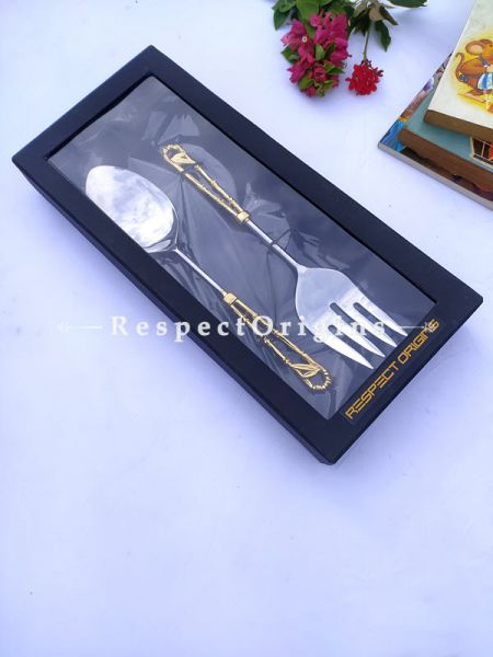 Elegant Salad, Pie or Roast Serving Spoon Folk Set; Handcrafted Brass n Gold Coated Handles; Formal or Festive Boxed Holiday Gift; 12 inches ; RespectOrigins.com