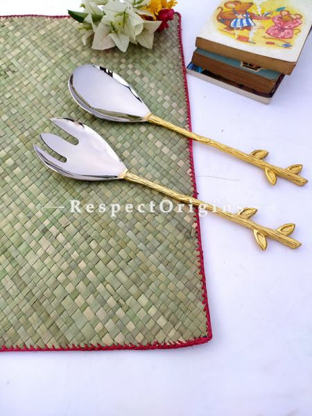 Elegant Serveware Designer Handcrafted Leaf Handles Boxed Gift Set of 2; 11 Inches; RespectOrigins.com