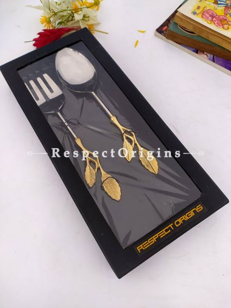 Designer Handcrafted Serveware Set with Metallic Brass Gold Coated Ornate Handles; 12 Inches ; RespectOrigins.com