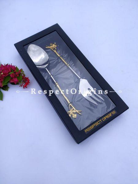 Salad, Pie or Roast Serving Spoon Folk Set; Handcrafted Brass n Gold Coated Leaf Handles; Formal or Festive Holiday Dining; 12 inches ; RespectOrigins.com