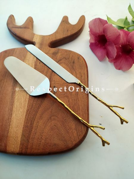Designer Handcrafted Steel Serveware Set with Gold Coated Handles for Dining ; Cake Server and Knife ; 12 Inches ; RespectOrigins.com