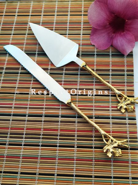 Handcrafted Cake Serving Set with Gold Coated handle Stainless Steel ; 12 Inches; RespectOrigins.com