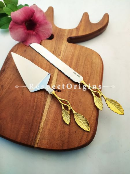 Handcrafted Cake Serving Set with Gold Coated Leaf Design Handle Boxed Gift Set; 12 Inches; RespectOrigins.com
