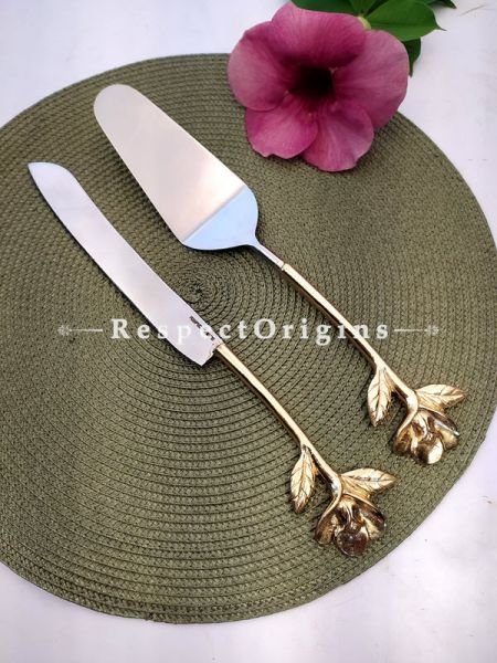 Handcrafted Cake Serving Set with Gold Coated floral Design Handle; 12 Inches; RespectOrigins.com