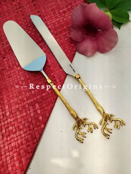 Festive Holiday Handcrafted Cake Serving Set with Gold Coated Reindeer Handle Gift Set; 12 Inches; RespectOrigins.com