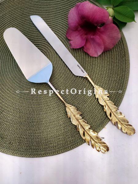 Handcrafted Cake Serving Set with Gold Coated Heavy Leaf Handles Gift Set; 12 In; RespectOrigins.com