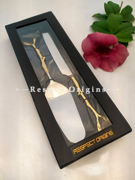 Handcrafted Cake Serving Set with Gold Coated Floral Designer Handle ; 12 Inches; RespectOrigins.com