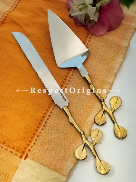 Hand-beaten Brass with Gold Coating Cake Server Gift Set ; 12 Inches; RespectOrigins.com
