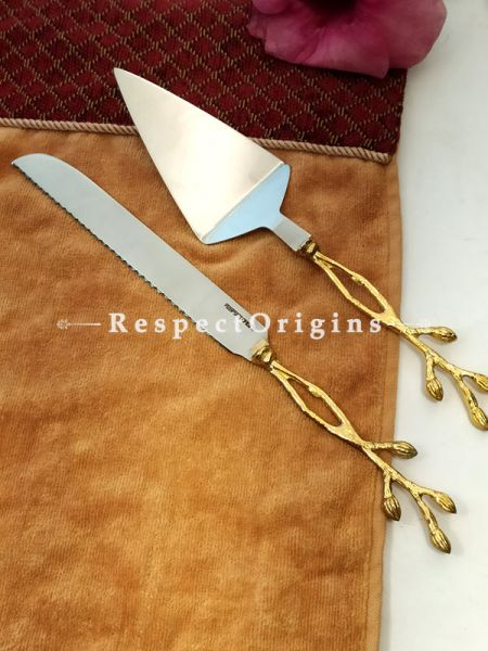 Rustic Handcrafted Cake Serving Set with Gold Coated Designer Handles; 12 Inches; RespectOrigins.com