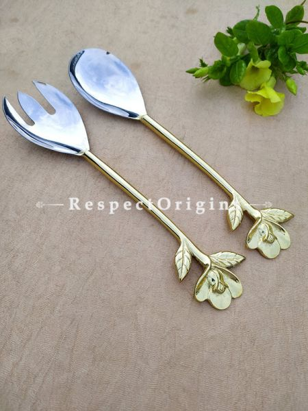 Designer Handcrafted Steel Serveware Set with Metallic Floral Design Handles for Dining ; Salad Fork 12 Inches; RespectOrigins.com