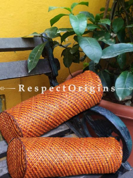 Buy Handcrafted Cylindrical Shape Brown Diwan Cushion; Screw Pine Leaf; Brown; Ecofriendly; Set of 2 At RespectOrigins.com